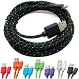 Casecover Universal Micro USB 3M 10FT Colorful Fabric Braided Data Cable Micro USB Data Sync Cable Charger Charging Cord for Android Samsung Galaxy S2 S3 S4 Note 2 HTC EVO One X S (1 black)