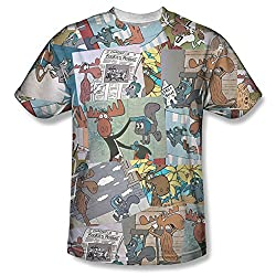 Rocky & Bullwinkle Collage All Over Print Front T-Shirt