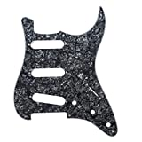 Musiclily SSS 11 Hole Strat Electric Guitar Pickguard for Fender US/Mexico Made Standard Stratocaster Modern Style Guitar Parts,4ply Black Pearl