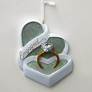 "Wedding ""Engaged"" Faux Diamond Ring in Box Christmas Ornament"