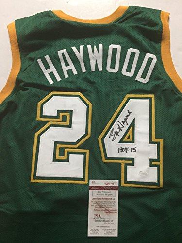 autographed-signed-spencer-haywood-hof-15-seattle-supersonics-green-basketball-jersey-jsa-coa