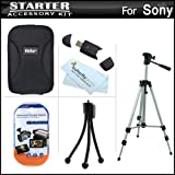 Starter Accessories Kit For Sony Cyber-Shot DSC-W530 Digital Camera Includes Deluxe Carrying Case + 50 Tripod With Case + USB 2.0 Card Reader + LCD Screen Protectors + Mini TableTop Tripod + MicroFiber Cleaning Cloth ~ ButterflyPhoto