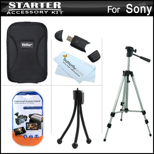 Starter Accessories Kit For Sony Cyber-Shot Dsc-W530 Digital Camera Includes Deluxe Carrying Case + 50 Tripod With Case + Usb 2.0 Card Reader + Lcd Screen Protectors + Mini Tabletop Tripod + Microfiber Cleaning Cloth