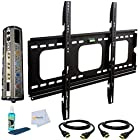 Heavy Duty 55-Inch Flat TV Mount for LG for (55LB5900, 55LB6300, 55LA6200, 55LB7200, 55UB8200, 55LN5400, 55UB9500, 55EC9300, 55LN5600, 55LN5700, 55LA690, 55LA9650, 55LA7400, 55LM7600, 55EA8800, 55LA9700, 55LW5600, 55GA6400, 55LN5200, 55LM9600, 55LS4500, 55LS4600, 55EA9800, 55LM4700, 55G2, 55LM6700, 55UB8500, 55LA6900) + Surge Protector + 2 12ft HDMI Cables + TV Cleaner Set