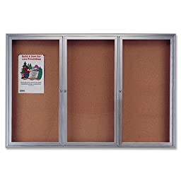 Quartet Enclosed Cork Indoor Bulletin Board, 6 x 3 Feet, Aluminum Frame (2366)