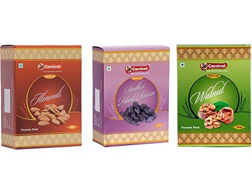 Carnival Almonds 250g + Walnut Regular 250g + Seedless Black Raisins 250g -Combo Pack For Rs. 724