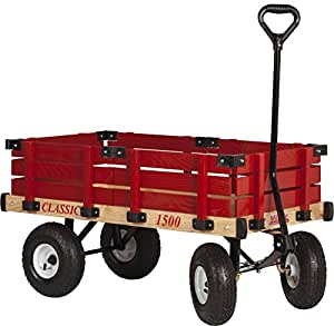 Millside Industries Millside Industries Classic Wood Wagon With Red Removable Wooden Racks