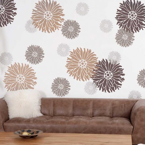 Starburst Zinnia Floral Wall Art Stencil - X-Small - Reusable Stencils for Walls - DIY Wall Design - By Cutting Edge Stencils