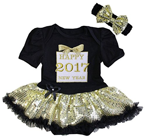 Kirei Sui Baby Happy 2017 New Year Gold Gift Bodysuit Medium Black