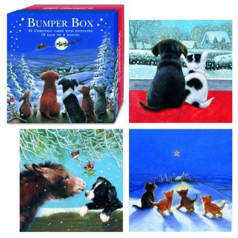 Cat & Dog 40 small Christmas Cards Bumper Box