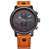 ZooooM クロノグラフ ラウンド デザイン アナログ 腕 時計 フェイク レザー ベルト ファッション アクセサリー フォーマル カジュアル ビジネス メンズ 男性 ( オレンジ ブラック ) ZM-CLWC356-ORBK