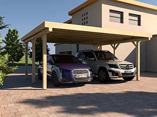 Carport Flachdach AVUS II 600 x 500 cm KVH Bausatz Konstruktionsvollholz