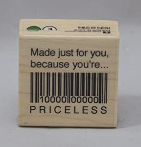 Inkadinkado Rubber Stamp with Wood Handle, Made Just For You/You're Priceless