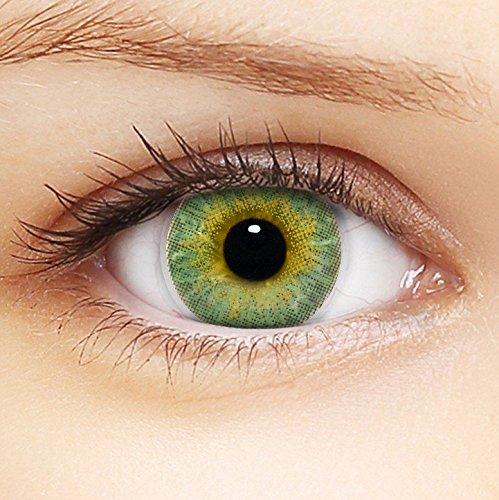 """LENZERA BASIC® Lenti a contatto colorate 3Tones """"Green"""" morbide, non corrette, in confezione da due - prodotto a marchio di qualità superiore, comode da indossare e perfette per celebrazione o Cosplay"""