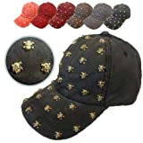 6色展開! スカル ドクロ スタッズ風ダメージ コットン キャップ CAP 帽子 メンズ レディース A・MaStarオリジナル販売商品 【AM286】