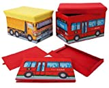 2 IN 1 FOLD AWAY CHILDRENS KIDS PADDED SEAT STOOL AND TOYS STORAGE BOX (TOWN BUS)