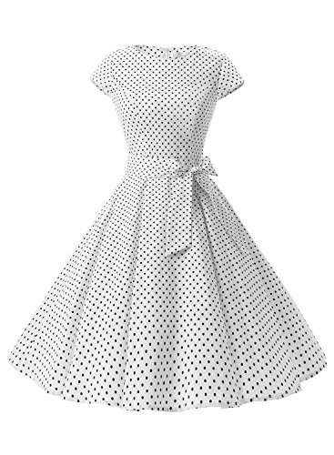 Dressystar Vintage 1950s Polka Dot and Solid Color Party Prom Dresses Rockabilly Cap Sleeves M White Black Dot A