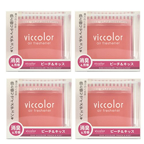 4-pack Viccolor Peach & Kiss (Fresh Peach Scent with Floral Bouquet Fragrance) High Quality Luxury Air Freshener JDM Genuine Diax Japan for Home/office/ Car/ Auto/ Rv