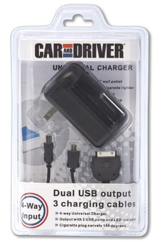 Car And Driver 4-Way Universal Charger With 2 Usb - Female Ports Includes 3 Usb/Sync Charging Cables