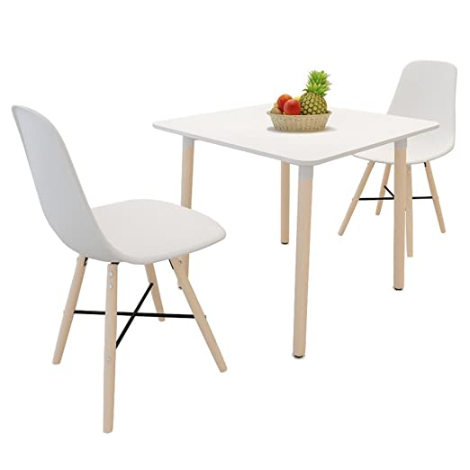 Anself Essgruppe Esszimmergarnitur Esstisch mit 2 Stuhle Weiß