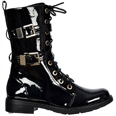 Onlineshoe femmes de dames militaire Biker Ankle Boot - Lacez vers le haut et Double Boucle - verni noir UK6 - EU39 - US8 - AU7