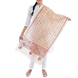 Kiara Crafts Women's Stole (kc-016_Cream_Freesize)