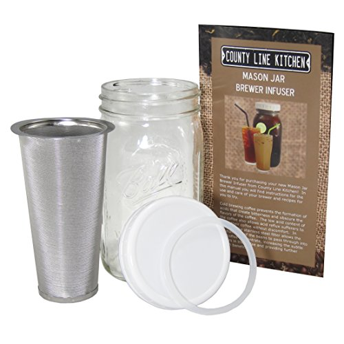 1 Quart - Cold Brew Coffee Maker, Iced Coffee and Iced Tea Maker Infuser, Mason Jar and Stainless Steel Filter - 32 Oz (Hot Cold Coffee Maker compare prices)