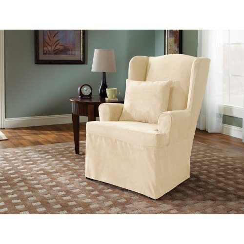 Sure Fit Soft Suede 1-Piece Wing Chair Slipcover, Cream