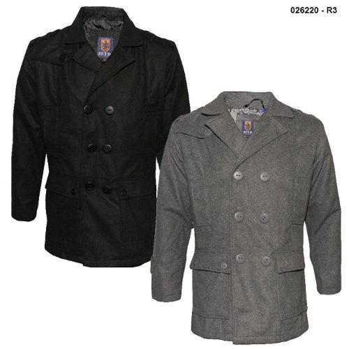 Mens Military Style Buttoned Wool Mix Coat R3 Size Large