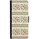 Snoogg Floral Pattern Red And CreamDesigner Protective Flip Case Cover For Sony Xperia Z3 Compact