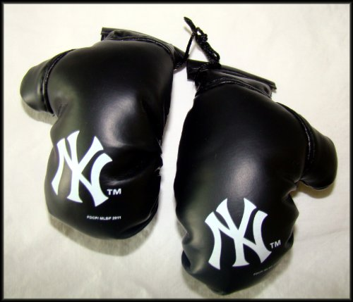 "MLB New York NY Yankees Logo 4"" Mini Boxing Gloves Rearview Mirror Auto Ornament - 1"