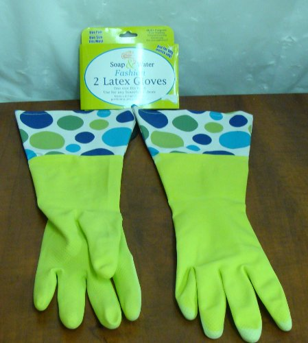 NEW SOAP & WATER / RITZ FASHION LIME GREEN & POLKA DOTS LATEX RUBBER GLOVES MULTI PURPOSE CLEANING GLOVES