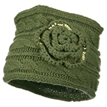 Sequin Flower Knit Head Band - Olive