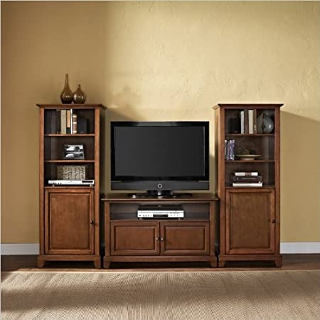 Crosley Newport TV Stand and Two 60 inch Audio Piers in Cherry