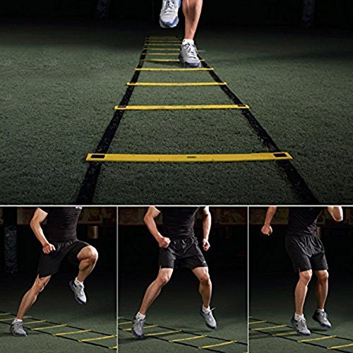 AIQI Speed & Agility Training Ladder for Improving Speed, Agility, Fitness, Leg Strength and More with Black Carrying Bag (Yellow, 5-Rung 10FT)