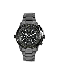 Seiko Men's SNAB69 Flight Master Stainless Steel Black Chronograph Dial Watch