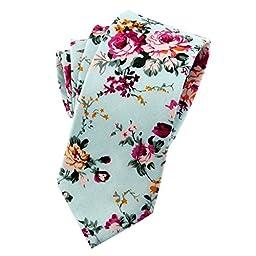 Mantieqingway Men\'s Cotton Printed Floral Neck Tie 013