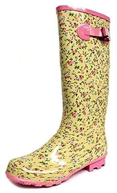 Ladies Paisley Print Wellington Boots/Wellies - Beige/Pink/Grn/Blue - UK SIZE 8