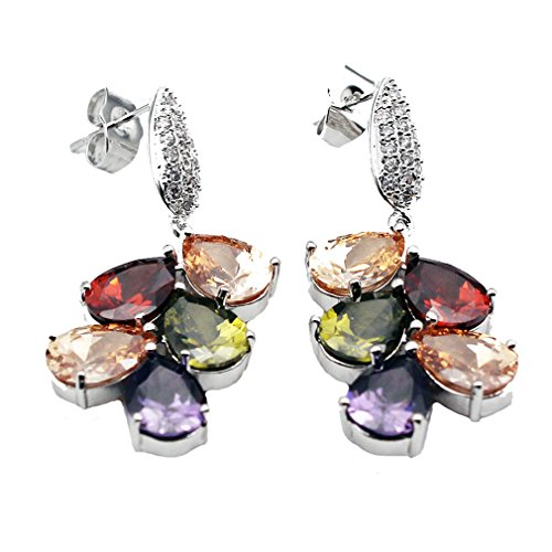 HERMOSA Multi Gemstones Sets 925 Sterling Silver Peridot Amethyst Garnet Morganite (Earring) (Multi Gem Earring Sets compare prices)