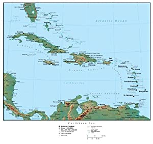 Map of the Caribbean (america) Wall Decal - 24 Inches W x 23 Inches H - Peel and Stick Removable Graphic