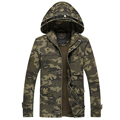 H.T.Niao Jacket8929C1 Men 's Military Camouflage Hooded Slim Jacket(Army Green,Size L) (Eagles Peak 6 Person Tent compare prices)