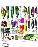 Univarcブランド ルアー ワーム 110個セット バスフィッシィング 釣具セット クリアケース カラビナ メーカー保証書付属 ルアーセット ワームセット