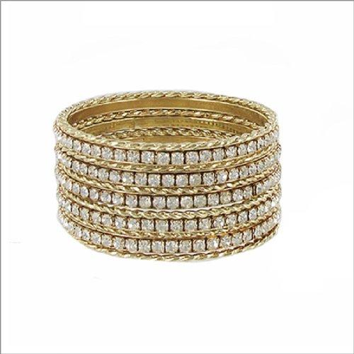 JOA Twist Texture & Stone Bangle Bracelet #040494