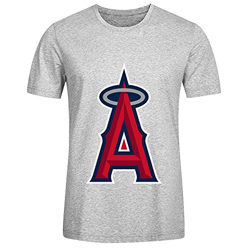 MLB Anaheim Angels Team Logo Crew Neck Men T Shirts Design Grey