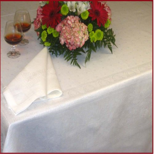Armani International, Finesse, Luxury European Jacquard Semi Linen Tablecloth 70x90-inch (178x230cm) Rectangular, White, Dine with Elegance! - Buy Armani International, Finesse, Luxury European Jacquard Semi Linen Tablecloth 70x90-inch (178x230cm) Rectangular, White, Dine with Elegance! - Purchase Armani International, Finesse, Luxury European Jacquard Semi Linen Tablecloth 70x90-inch (178x230cm) Rectangular, White, Dine with Elegance! (Armani International, Home & Garden, Categories, Kitchen & Dining, Kitchen & Table Linens, Tablecloths)