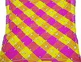 Vintage Dupatta longue écharpe indienne en mousseline de soie pure perles Magenta Veil Stole...