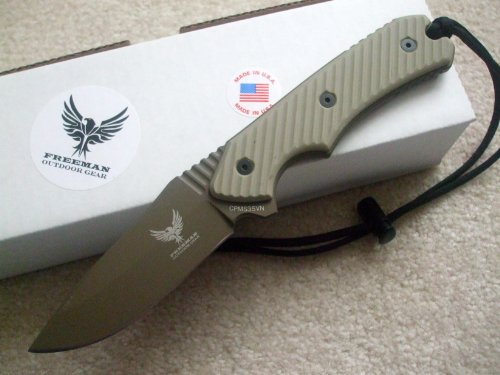 "Freeman Outdoor Gear 451 4"" Fixed Blade Knife Dark Earth Blade Desert Sand Handle"