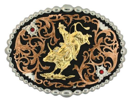Montana Silversmiths Tri Color Bull Rider Attitude Belt Buckle