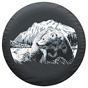 31″ Grizzly Bear Spare Tire Cover – Boomerang Wildlife Series – Premium Quality Soft Cover made with Haartz® Black Denim Vinyl