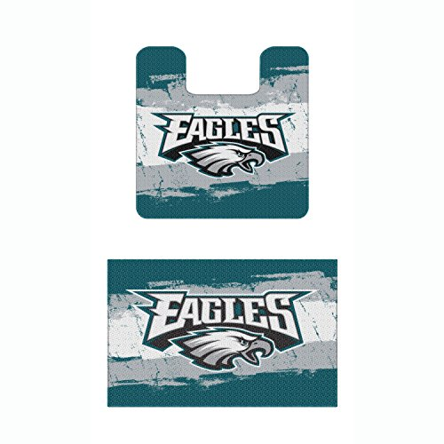 Set of 2 NFL Philadelphia Eagles Bath Mats Football Team Logo Bathroom Rugs - 1